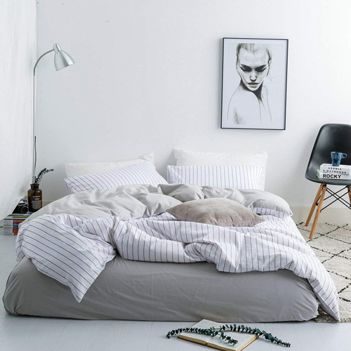 FenDie Modern Simple Bedding Set King Cotton Microfiber Reversible Gray Vertical Striped Duvet Cover Set, 2 Pillow Covers, White Pattern at lux comfy bedding