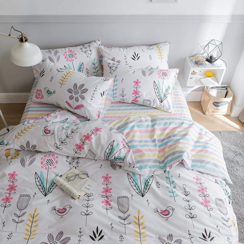 HIGHBUY Floral Printed Pattern Kids Duvet Cover Sets Twin Cotton Light Green Fresh Style Garden Bedding Sets 3 Piece for Boys Girls Reversible Striped Bedroom Collections Twin,Style03 at lux comfy bedding