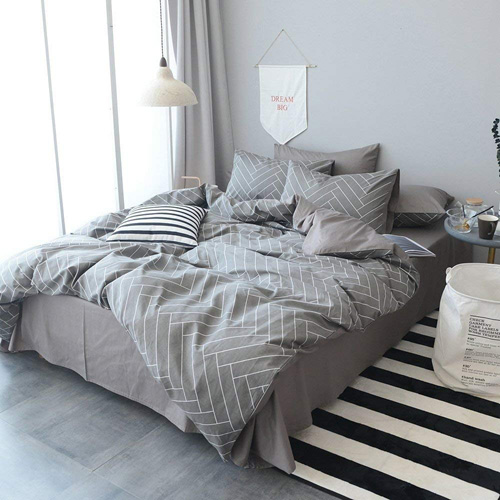 HIGHBUY Super Soft 3 Piece King Duvet Cover Set Grey 100% Natural Cotton Striped Bedding Sets Geometric Pattern Comforter Cover For Boys Men Lightweight Breathable and Comfortable (No Comforter) at lux comfy bedding