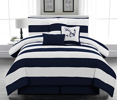 Legacy Decor 7pc. Microfiber Nautical Themed Comforter set, Navy Blue and White Striped, Queen Size at lux comfy bedding