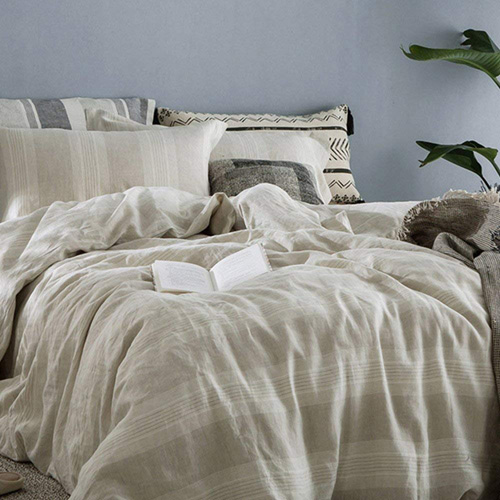 Merryfeel 100% Linen Duvet Cover Set - Full Queen - Natural yarn dyed stripe at lux comfy bedding