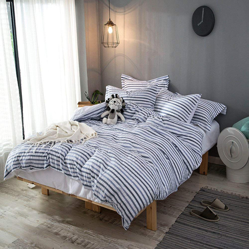 Merryfeel 100% cotton woven Seersucker Stripe Duvet Cover Set - Full Queen at lux comfy bedding