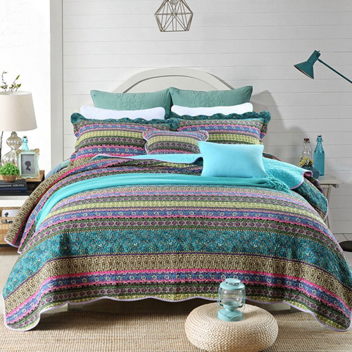 NEWLAKE Striped Jacquard Style Cotton 3-Piece Patchwork Bedspread Quilt Sets, Queen Size at lux comfy bedding