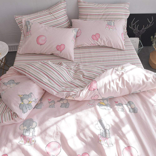 ORoa New Cartoon Animal Rabbit Elephant Print Pink Twin Duvet Cover Set for Girls 100% Cotton Reversible Soft 3 Pieces Kids Teen Bedding Duvet Cover Pillowcases Girls Twin Bedding Sets Striped at lux comfy bedding