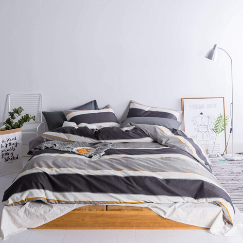 SUSYBAO 3 Pieces Duvet Cover Set 100% Natural Cotton Queen Size Black and Grey Stripes Printed 1 Duvet Cover 2 Pillowcases Luxury Quality Soft Stain Resiatant Durable Bedding Set with Zipper Ties at lux comfy bedding