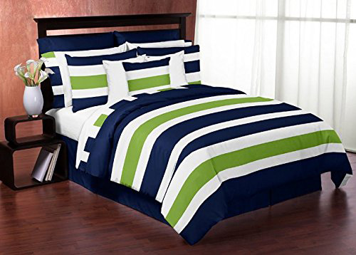 Sweet Jojo Designs 4-Piece Navy Blue Lime Green and White Stripe Teen Boys Twin Bedding Set Collection at lux comfy bedding