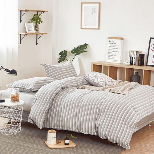 Washed Cotton Duvet Cover Set, Gray Grey Gradient Striped Line Pattern Printed on White, 100% Cotton Bedding, with Zipper Closure (3pcs, Queen Size) at lux comfy bedding