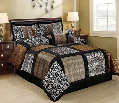 7 Piece MARTEN Fuax Fur Safari Patchwork Comforter Set- Queen King Cal.King Size (Queen, multicolor)