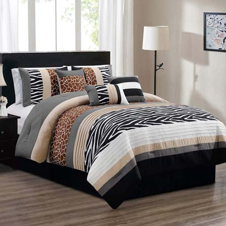 7 Piece Queen Size Safari Bed in A Bag Animal Print Zebra, Giraffe Comforter Set - Bedding in Brown, Beige, Black, White and Grey. Perfect for Any Bed Room or Guest Room at luxcomfybedding.com