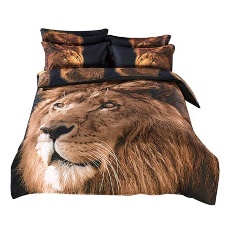 Alicemall 3D Lion Comforter Set King Size Big Lion Head Prints 5-Piece Lion Bedding Set (King) sold at luxcomfybedding.com