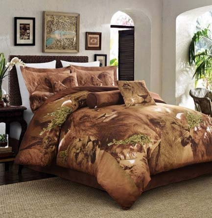 Cozy Beddings 5-Piece Duvet Set, Jungle Collection Lion Animal Print Full Size Bed available at luxcomfybedding.com