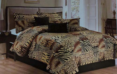 Legacy Decor 7 Pc Multi Animal Print Black, Brown, Tan Microfur Comforter Set. Queen Size Comforter Set at luxcomfybedding.com