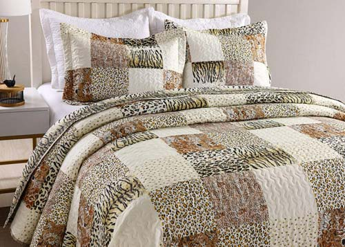 MarCielo 3 Piece Quilted Bedspread Leopard Print Quilt Quilt Set Bedding Throw Blanket Coverlet Animal Print Bedspread Ensemble Cheetah King Oversize(Cal King) at luxcomfybedding.com