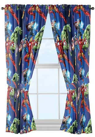 Jay Franco Marvel Avengers Team 84 inch Drapes 4 Piece Set - Beautiful Room Décor & Easy Set up - Window Curtains Include 2 Panels & 2 Tiebacks (Official Marvel Product) at Lux Comfy Bedding