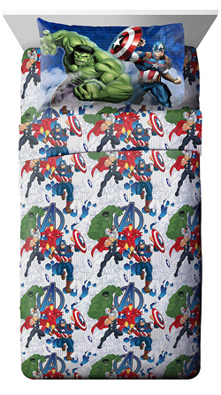 Marvel Avengers Bedding Set for Kids -Marvel Avengers Blue Circle Twin Sheet Set- 3 Piece Set Super Soft and Cozy Kid's Bedding Features Captain America, Hulk, Iron Man, and Thor- Fade Resistant Microfiber Sheets (Official Marvel Product) at Lux Comfy Bedding