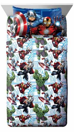 Marvel Avengers Heroic Age Blue-White 3 Piece Twin Sheet Set with Captain America, Thor, Ironman & Hulk at Lux Comfy Bedding