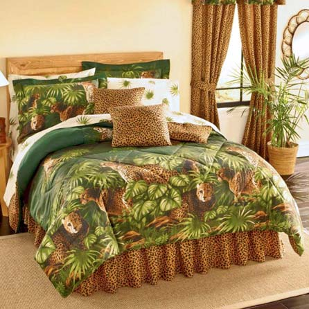 Safari CHEETAH LEOPARD CATS Comforter & Sheet Set With Palm Leaf Foliage (8pc Queen Size(86x86) Bed In A Bag Set) at luxcomfybedding.com