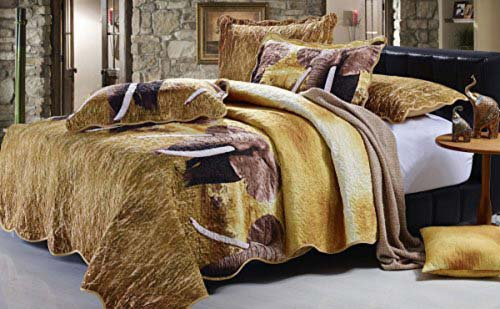 Serenta Safari Elephant Quilts 4 Piece Set, Queen, Safari Sham at luxcomfybedding.com