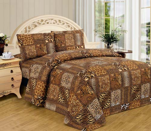WPM Brown Black Leopard Zebra Queen Size Sheet Set 4 Pc Safari Animal Print Pillow Shams Bedding at luxcomfybedding.com
