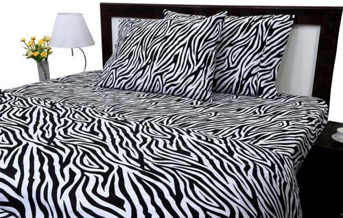 Zebra Print King Size Ultra Soft Natural 4 PCs Bed Sheet Set 16 Deep Elastic All Round 100 percent Cotton 400-Thread-Count Extremely Stronger Durable By Aashi at luxcomfybedding.com