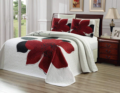3-Piece Fine printed Oversize (115 X 95) Quilt Set Reversible Bedspread Coverlet KING CAL KING SIZE Bed Cover (Burgundy Red, Black, White, Floral)