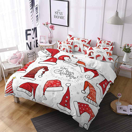 Christmas Bedding Gift Ideas - 3D Children Christmas Duvet Cover Set 3Pcs Zipper Closure Cartoon Santa Claus Hat Comforter Set Merry Christmas Pattern Bedding Sets-1 x Duvet Cover and 2 x Pillowcase-White, Full