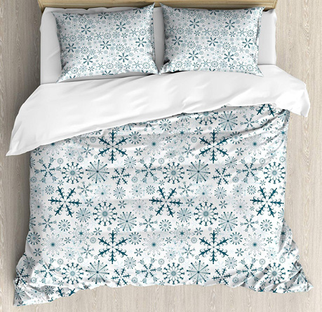 Ambesonne Winter Duvet Cover Set, Merry Xmas Theme Delicate Snowflakes Cold Freezing Weather Vintage Holiday Pattern, Decorative 3 Piece Bedding Set with 2 Pillow Shams, King Size, White Teal