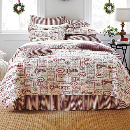 BrylaneHome Vintage Christmas 4-Pc. Quilt Set - Ivory Red, Full-Queen