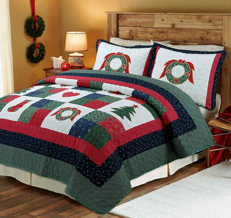 Cozy Line Home Fashions Happy Christmas 2-Piece Cotton Quilt Bedding Set, Coverlet Bedspread (Happy Christmas, Twin - 2 Piece)