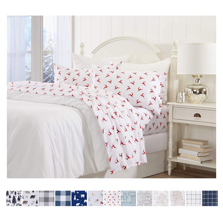 Great Bay Home Extra Soft Reindeer 100% Turkish Cotton Flannel Sheet Set. Warm, Cozy, Luxury Winter Bed Sheets. Belle Collection (King, Reindeer)
