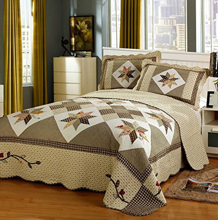 HNNSI 3 Piece Cotton Quilt Bedspread Sets Queen Size, Patchwork Design Comforter Coverlet Bedding Sets (Style1)