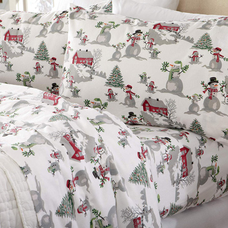 Home Fashion Designs Stratton Collection Extra Soft Printed 100% Turkish Cotton Flannel Sheet Set. Warm, Cozy, Lightweight, Luxury Winter Bed Sheets Brand. (King, Winter Wonderland)