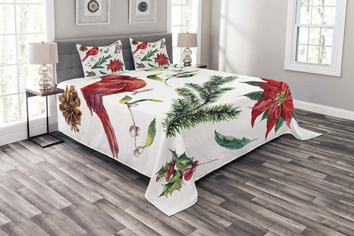 Lunarable Cardinal Bedspread, Watercolor Christmas Flora and Fauna Pinecone Spruce Branch and Red Cardinal Bird, Decorative Quilted 3 Piece Coverlet Set with 2 Pillow Shams, King Size, Red Green