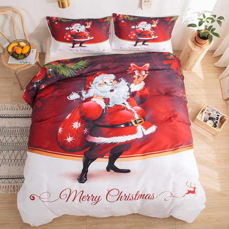 Christmas Bedding Gift Ideas 2019 - Merryword Christmas Bedding Santa Claus Duvet Cover Set Santa Claus Printed Design Kids Bedding Sets Queen 1 Duvet Cover 2 Pillowcases (Santa Claus, Queen)