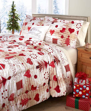 The Lakeside Collection Christmas King-Sized Comforter Set - Four Piece with Holiday Pillow, Shams