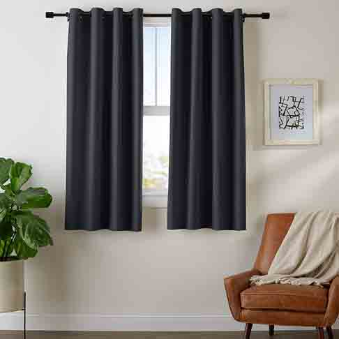 AmazonBasics Room Darkening Blackout Window Curtains with Grommets - 52 x 63, Black, 2 Panels