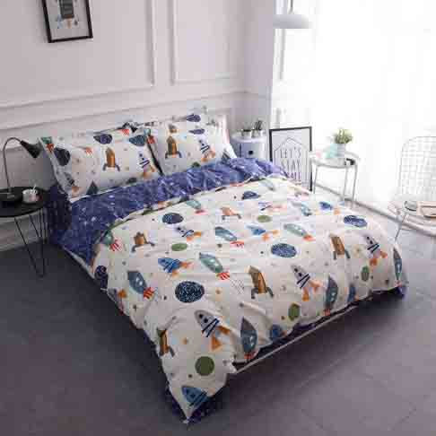 BuLuTu Space Rocket Print Boys Bedding Duvet Cover Queen White Blue Cotton,3 Pieces (1 Duvet Cover and 2 Pillow Shams) Planet Spaceship Stars Full Girls Bedding Sets Zipper Closure,No Comforter