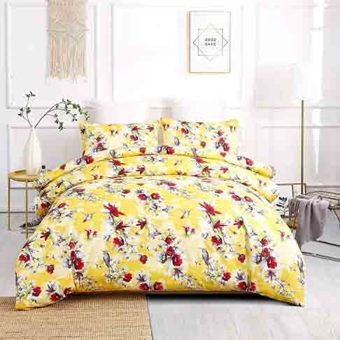 DaDa Bedding Radiant Sunshine Duvet Cover - Yellow Floral Hummingbirds with Pillow Cases - Bright Vibrant Multi-Colorful Red Flowers - Very Soft Comforter Cover with Corner Ties - Queen - 3-Pieces