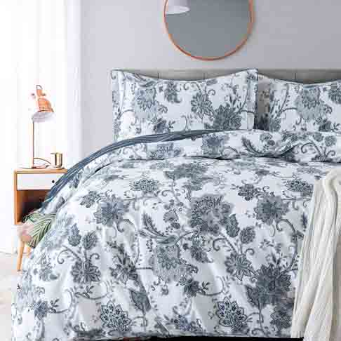 Duvet Covers Sets Cotton Queen Damask Paisley Vintage Floral Duvet Cover-1000tc Egyptian Cotton Percale Weave Reversible 3pc Bedding-Soft Breathable Comforter Cover Set(Queen,White Base Navy