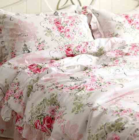 FADFAY Duvet Cover Set Queen Elegant and Shabby Pink Rosette Floral Bedding with Hidden Zipper Closure 100 percent Cotton with Floral Bedskirt 4 Pieces Queen Size