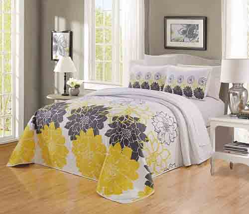 GrandLinen 3-Piece Fine Printed Oversize (100 X 95) Quilt Set Reversible Bedspread Coverlet Queen Size Bed Cover (Sunshine Yellow, White, Grey Floral)