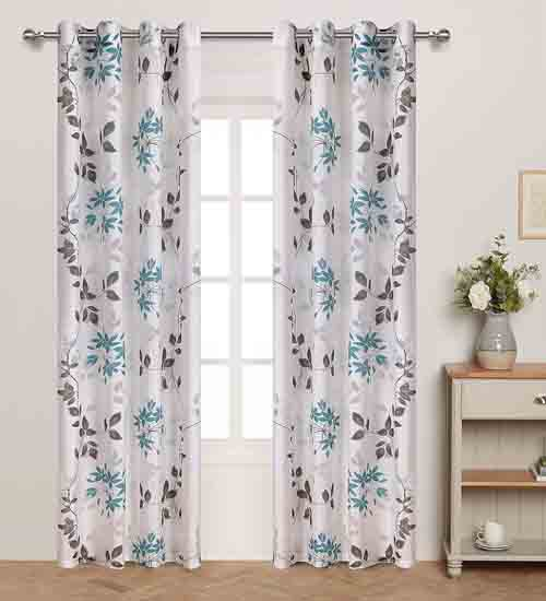 Grommet Top Leaf Floral Sheer Curtains for Spring and Summer Theme Bedroom Burnout white Base With Blue Grey Print Ivy leaves