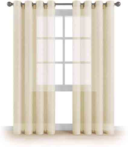 MEMIAS Window Sheer Elegant Voile Curtains with Grommets for All Rooms Decoration, 2 Panels, Each Panel, 54 W x 63 L, Butter Cream