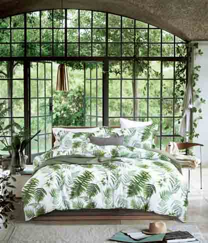 MILDLY Bedding Duvet Cover Sets King Size, 100% Egyptian Cotton Duvet Cover with Zipper Closure and 2 Pillow Shams, Botanical Leaves Pattern Printed,Bert