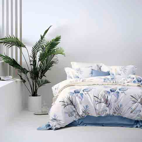 MILDLY Duvet Cover Set King Size Soft Cotton Original Design Floral Botanical Printed Pattern 3 Pieces Bedding Set, Aesop