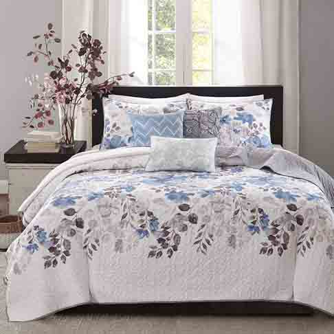 Madison Park Luna King-Cal King Size Quilt Bedding Set - Blue, Plum, Floral, Leaf – 6 Piece Bedding Quilt Coverlets – Ultra Soft Microfiber with Cotton Filling Bed Quilts Quilted Coverlet