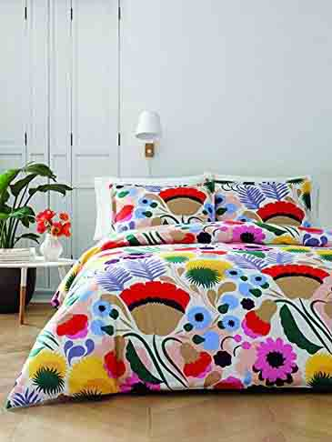 Spring Bedding Collection and Matching Curtains - Marimekko 221431 Ojakellukka Comforter Set, Full-Queen, Multi