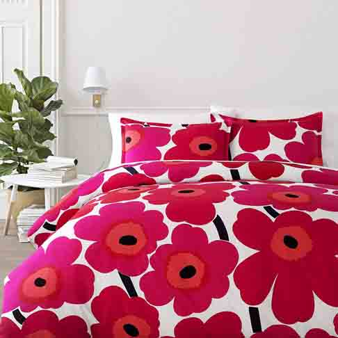 Marimekko 221455 Unikko Duvet Cover Set Red, Full - Queen