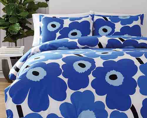 Marimekko 221461 Unikko Duvet Cover Set, Blue, Full-Queen