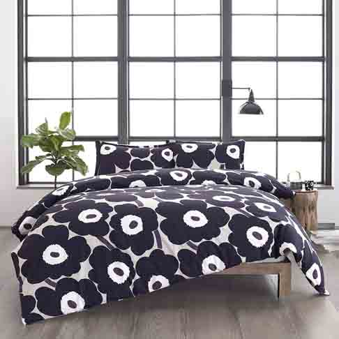 Marimekko Unikko Duvet Cover Set, King, Grey